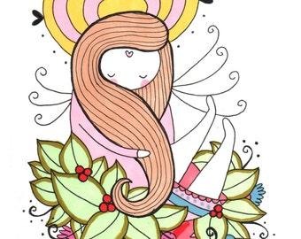 Girl in Flowers Art Print - Hand Drawn Illustration by kathlizbeth