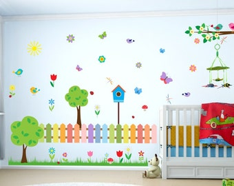 073 wall decals colourful garden with Bird House tree birds flowers wall decoration * nikima * in 6 verse. Sizes