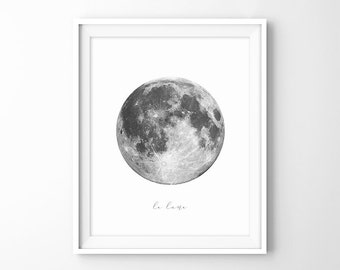 Full Moon in White Background, Moon Photo, Moon Wall Art, Moon Photography, Large Moon Poster, Printable Download Digital Print JPG