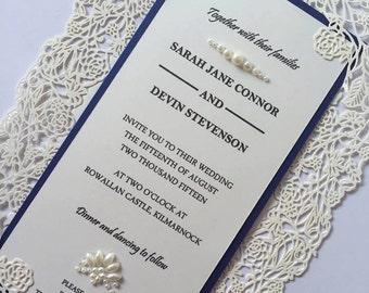 Handmade Lasercut Wedding Invitation, Roses Lasercut Wedding Invitation, Pearl Invitations, Crystal Invitations