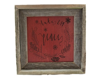 Christmas Decorations/ Peace/ Custom Bible Verse Art/ Scripture Wall Art/ Wood Christmas Sign/ Luke 2:14/ Gifts For Her