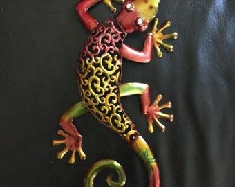Large Painted Metal Gecko Wall Art
