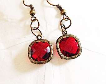 Ruby Red Faceted Glass Drop Earrings