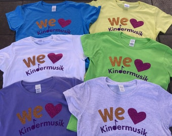 2XL and 3XL We Love Kindermusik SPARKLY Women's Cut T shirts