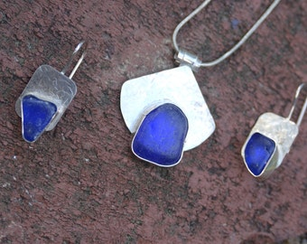 Cobalt blue sea glass on sterling - necklace and earrings