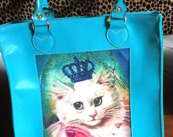 Blue Kitty Leather Purse