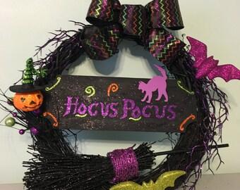 Hocus Pocus Halloween Purple Cat with Witch Broom and Bat Black Wreath Purple Orange and Green