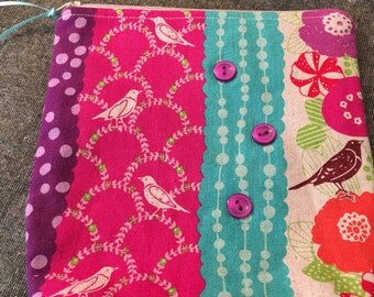 Echino Japanese Linen Birds and Flowers ZIppered Pouch