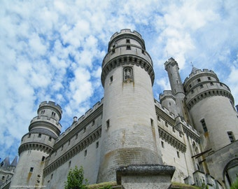 Fairy Tale Castle photo, Merlin Castle Pierrefonds France, 5x7 gray French Château, 8x10 Travel photography, child's dorm decor for him