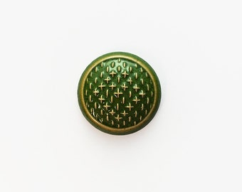 Ceramic Green Sashiko Cabochon  1 piece