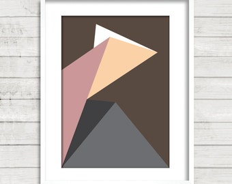 3d effect/poster/geometric/modern/printable/digital download/original/uniqe/ digital/Art #Brown-Pink-Grey -Peach