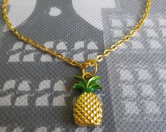 Ankle strap with pineapple pendant, anklet pineapple, anklet tropical fruit
