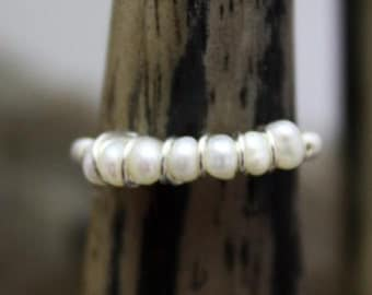 Lovely Sterling Silver 7-Pearl Dainty ring