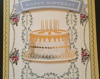 Happy Birthday Card with Cake Design Handmade