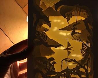 Shadow box, diorama, 3D painting, Alice