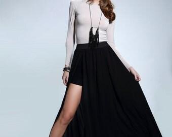 Open Wide Chiffon Skirt,Woman Skit, Long Skirt,Wide Long Skirt,Trend Skirt, Chiffon Skirt//,Black Skirt,//#JADE//Size-Small,Medium,Large