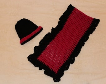 Crochet Fuschia and Black Hat and Scarf, Pink and Black Hat and Scarf, Winter Hat and Scarf, Pink Love and Friendship Hat and Scarf