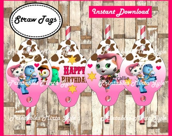 Sheriff Callie Straw Tags, printable Sheriff Callie party Straw Tags, Sheriff Callie's Wild West Straw toppers