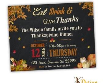 Thanksgiving Invitation , printable invitation , family invitation