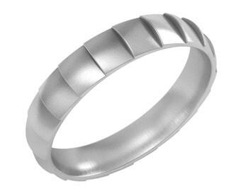 14k Solid Gold Wedding Band Ring, Snake Pattern Ring, Thin Wedding Band Ring, 4mm Gold Ring, Engagement Ring, Promise Ring, Bridal Ring