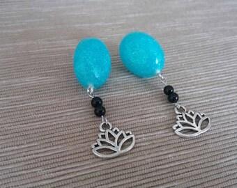 Iced Blue Lotus Charm Earrings
