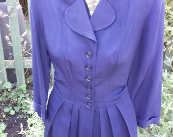 1940s navy coat dress