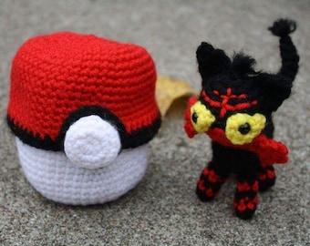 Crochet Pokémon Litten in Pokéball Amigurumi