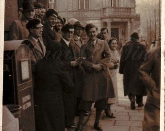 Vintage Photo - Friends Photo - Young Man and Woman - Polish Young - Polish city - Happy folks - Vintage Snapshot - Polish Photo - Prewar