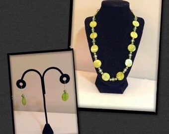 Green Pebble Necklace and Earrings