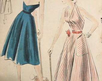 Vogue 7079 1950s Haulter Dress Pattern