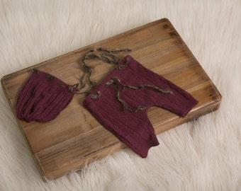 Burgundy & Brown RTS-Newborn pant/bonnet set with drawstring