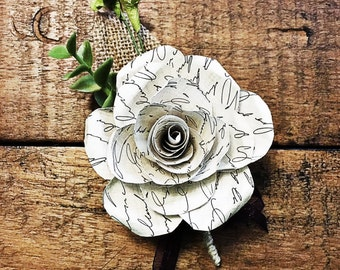Paper Flower Boutonniere- Personal Text