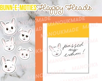 Bunn-e-moties - Happy Faces of Puk the Bunny *pre-order* (HAPPY HEADS STICKERS)