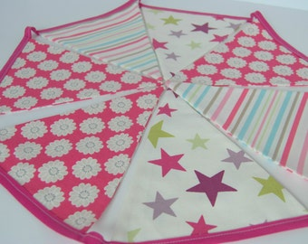Stars Stripes Flowers Bunting Hot pink