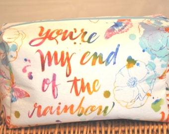 Large happy endings rainbow cosmetic bag