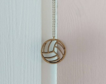 Volleyball Charm Wooden Lasercut Necklace