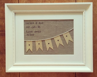 Personalised Wedding Gift: Framed Bunting Fabric Collage Featuring Date and Names