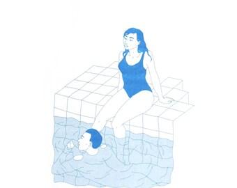 Swimming pool - riso print (blue)