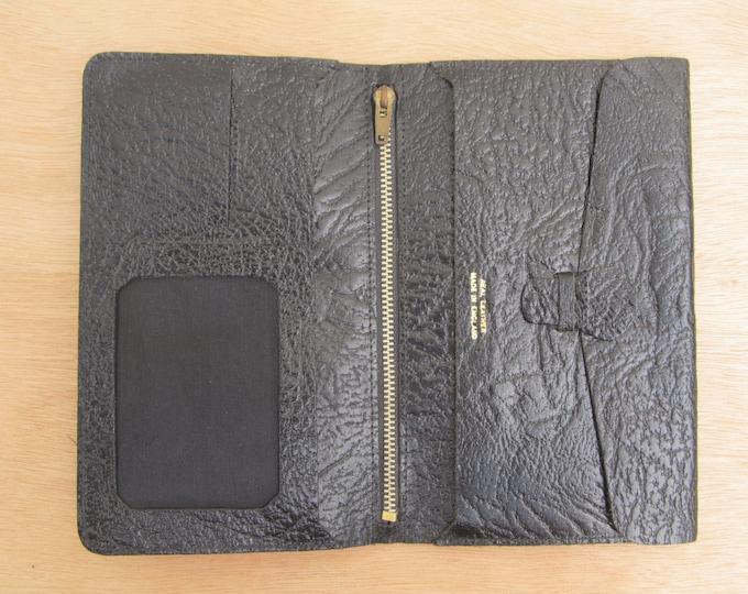 Vintage black leather wallet organiser, document storage, simple travel wallet, vintage document storage