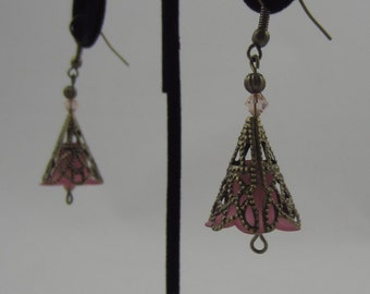 Pink Cone Flower Dangling Earrings