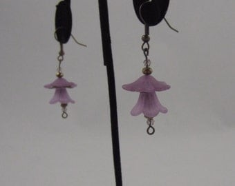 Purple Tulip Dangling Earrings