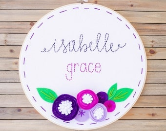 """12"""" Baby Girl embroidery felt hoop, personalized name with 3D flowers"""