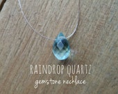Blue Quartz Necklace - Simple Necklace, Dainty Necklace, Barely There, Floating Gemstone Necklace, Faceted Teardrop, Teardrop Necklace,