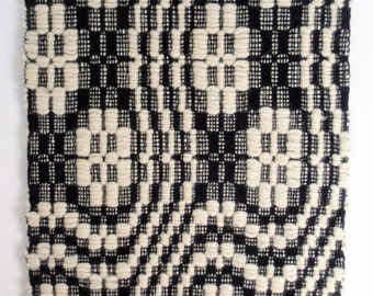 black and white handwoven traditional patterned wall hanging, pure wool