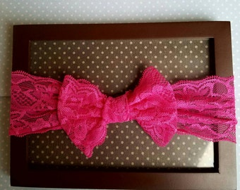 Fuchsia lace 3 month - toddler headband