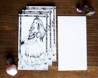 Art drawing print, Magic girl, Postcard, illustration