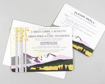 Longs Peak Colorado Mountain with Aspens 5x7 Wedding Invitation with RSVP Postcard and Envelopes