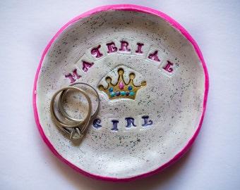 small circle ring dish; clay ring dish; handmade ring dish; material girl