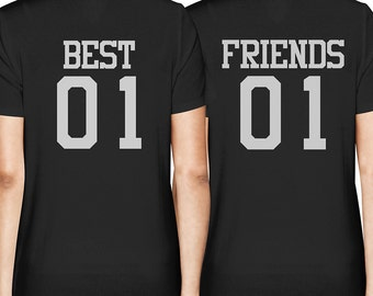 Best 01 and Friends 01 Matching T-shirts - BFF Back Printed Junior Fit Tee - Christmas, Holiday, Birthday Gifts Ideas For Best Friend FT035
