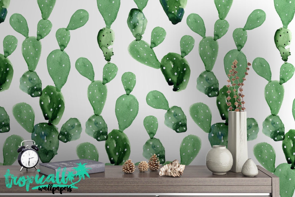 Watercolor Cactus Print Wallpaper Removable Wallpapers